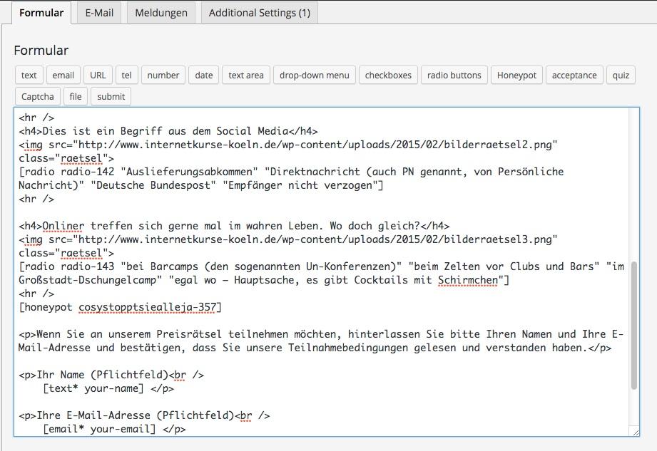 WordPress Plugin Contact Form 7: Abfragen und Formulare