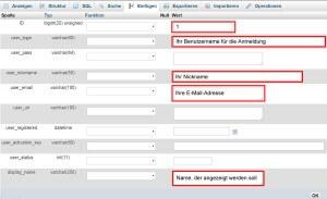 In der Tabelle wp_users sind drei Angaben zu ändern