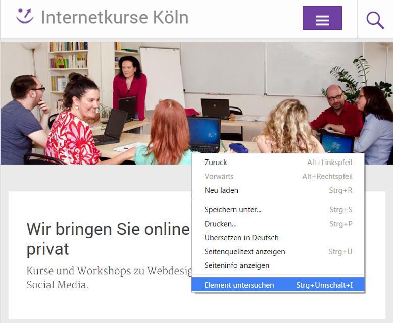 Kontextmenü des Chrome Browsers
