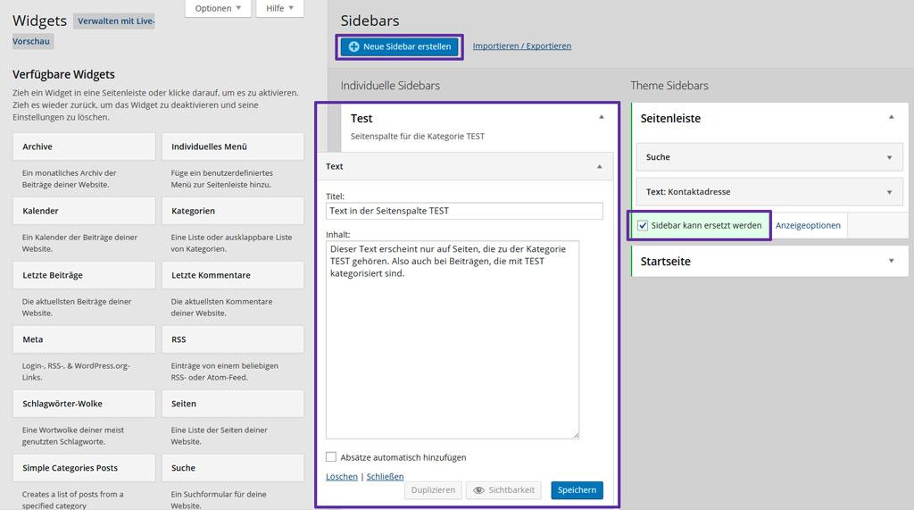 Custom Sidebars ersetzt die Standard-Seitenleiste