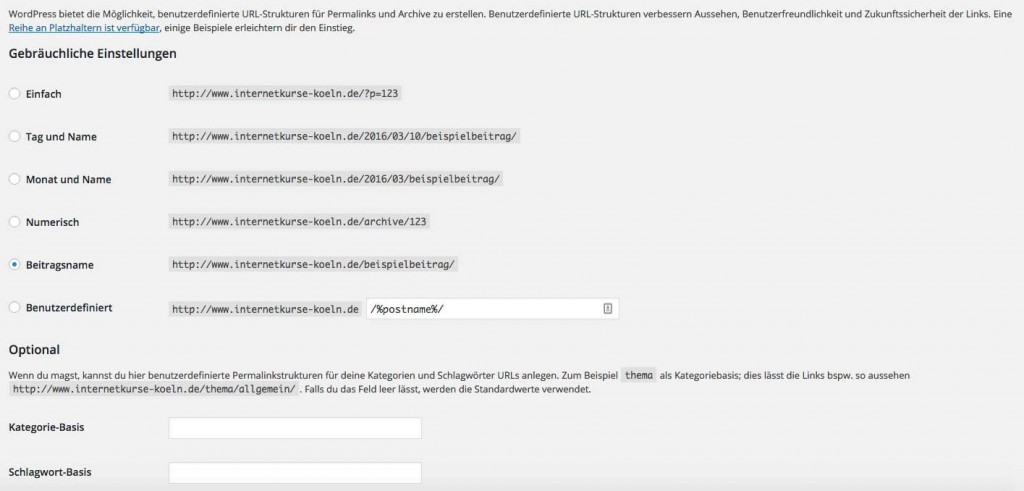 Was ist ein Permalink in WordPress: Einstellungsoptionen