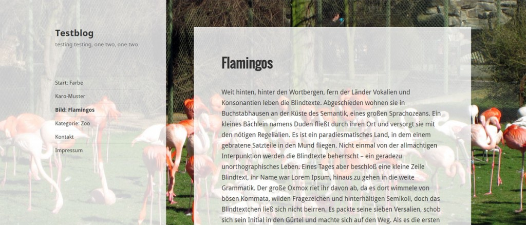 WordPress Seite mit einem individuellen Hintergrundbild