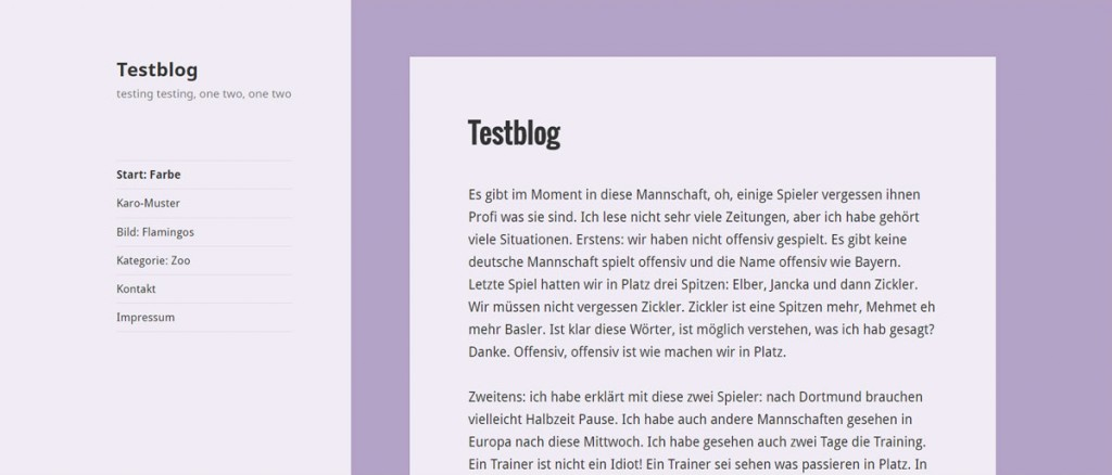 WordPress Seite mit eigener Hintergrundfarbe