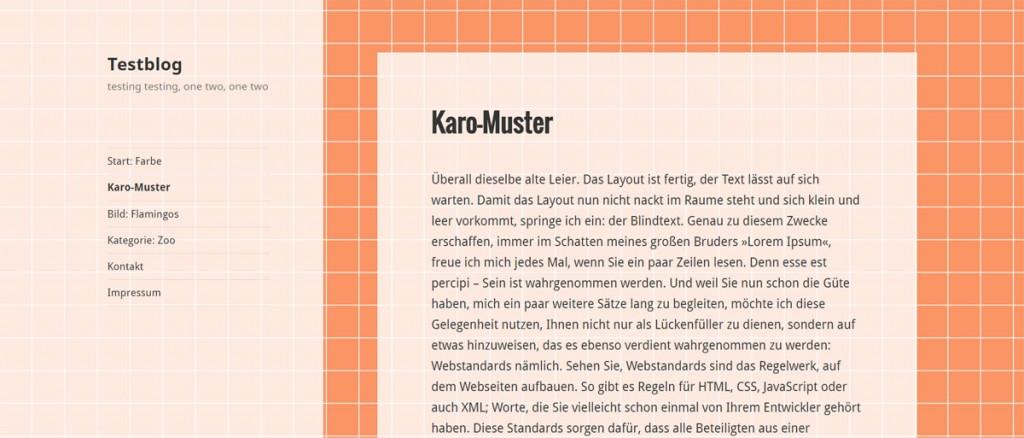 WordPress Seite mit gekacheltem Hintergrund