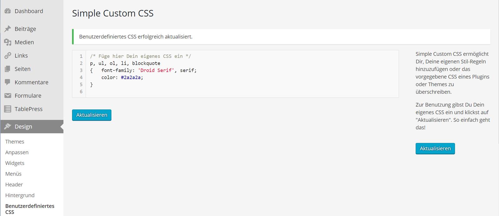 WordPress Plugin Simple Custom CSS - Eingabefeld