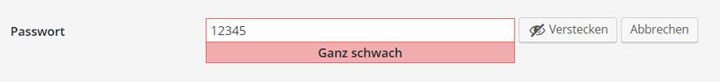 äußerst schwaches Passwort