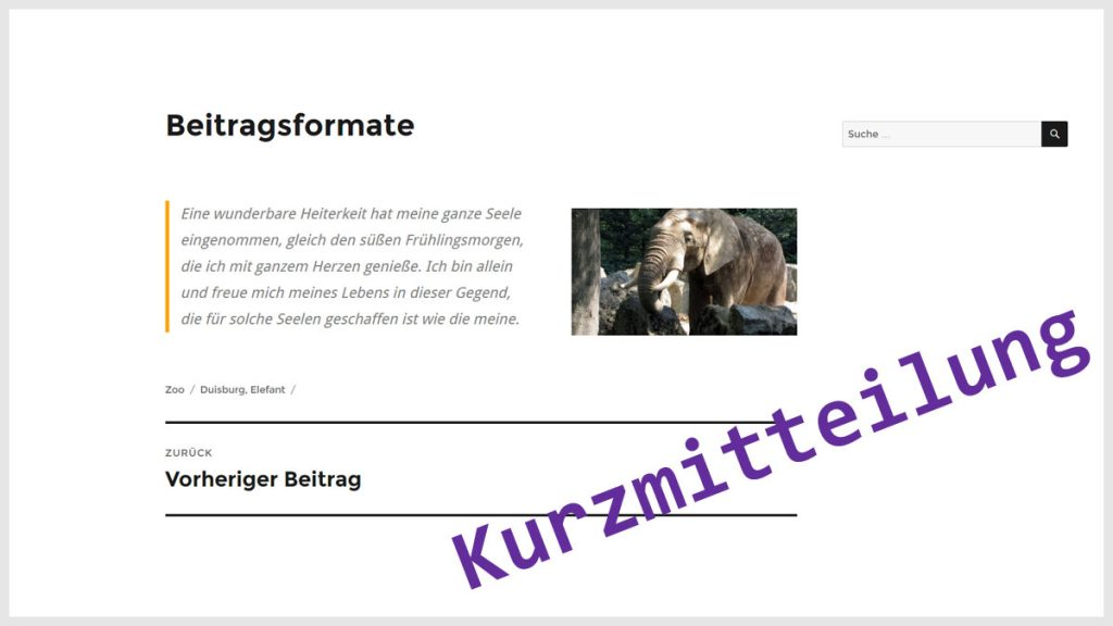 WordPress Beitragsformat Kurzmitteilung