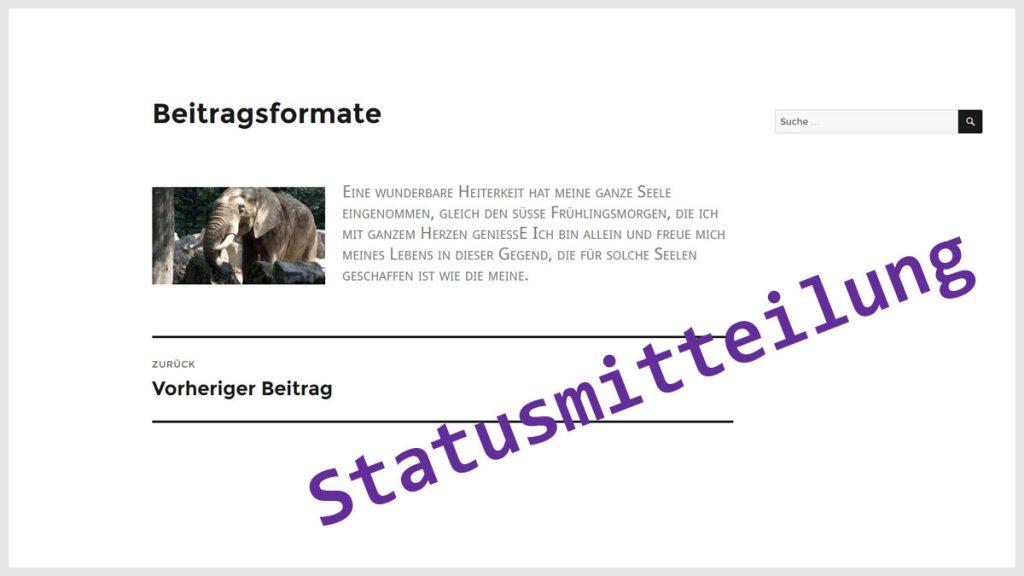 WordPress Beitragsformat Statusmitteilung