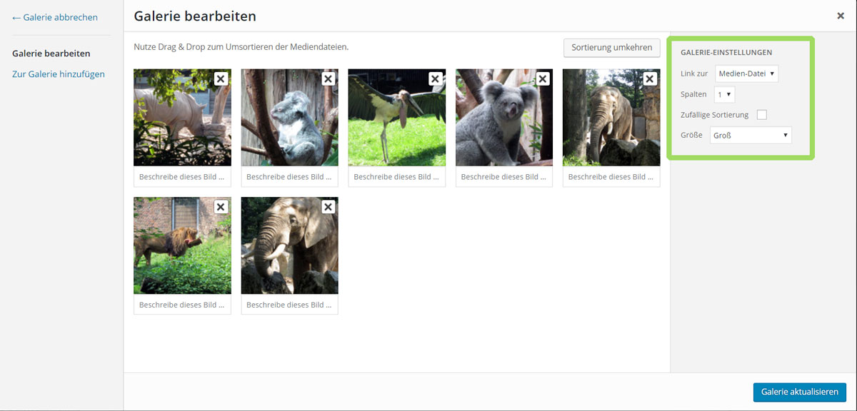 Screenshot: WordPress Galerie bearbeiten