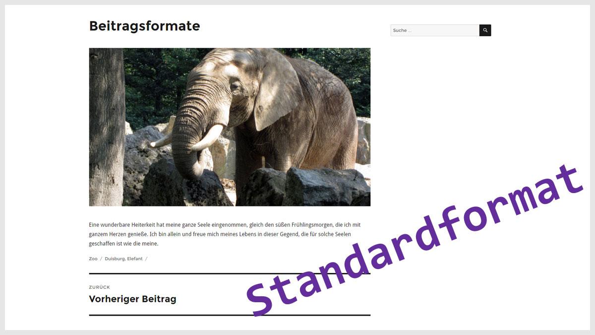WordPress Beitragsformat Standard