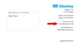E-Mail-Adresse im Briefkopf von Maxi Musterfrau