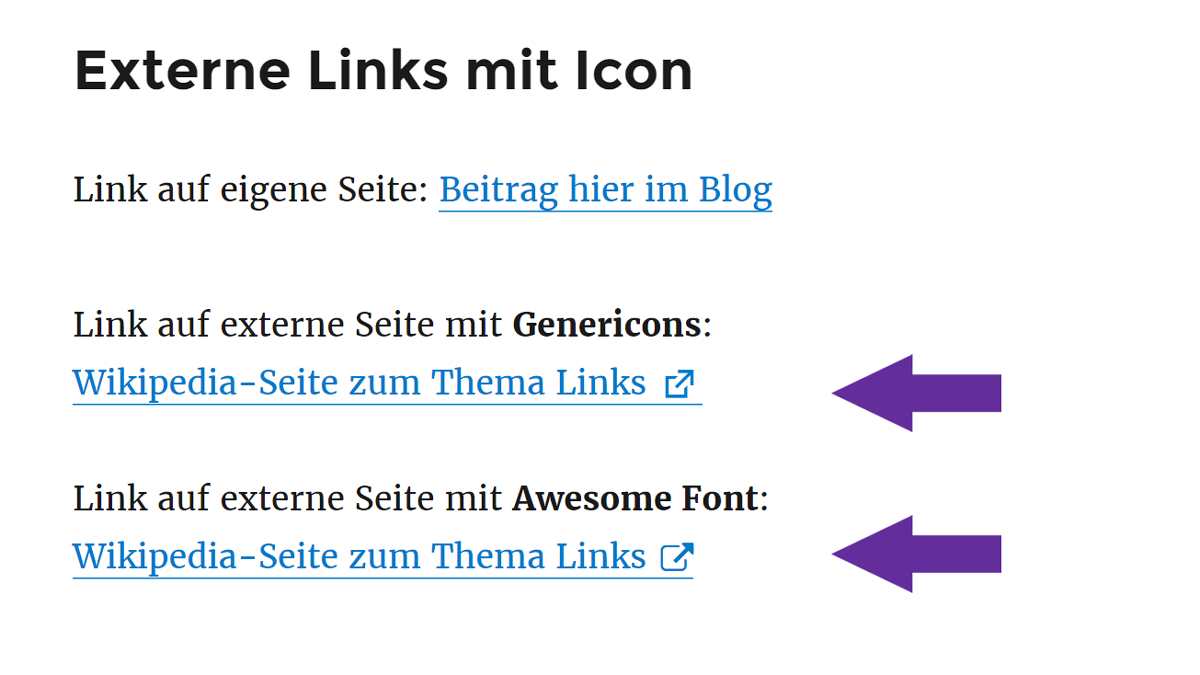 In WordPress externe Links markieren - mit Genericons oder Awesome Font