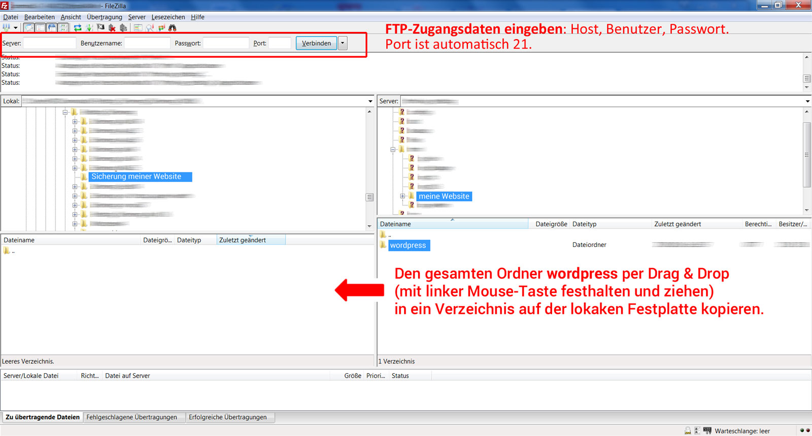 WordPress sichern mit Filezilla