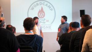 Morgensession beim WordCamp 2016 mit den Organisatoren Thomas Reeh und Thomas Brühl