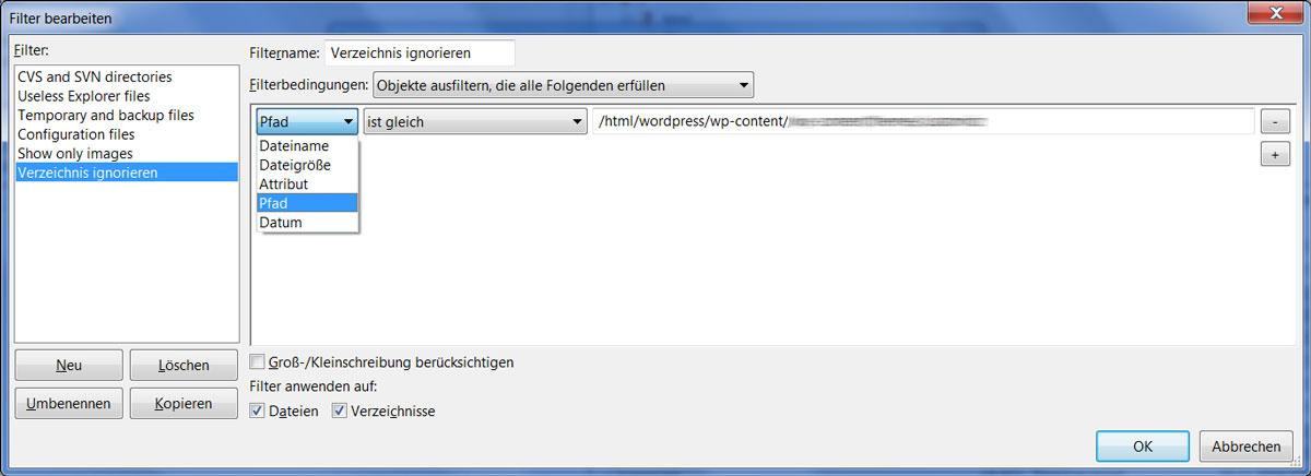 Filezilla Verzeichnis Filter: Zweiter Dialog