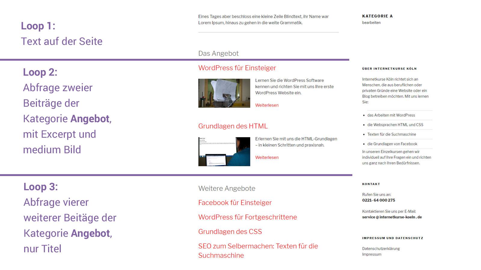 Seitentemplate mit zwei Loops erstellen - Internetkurse Köln