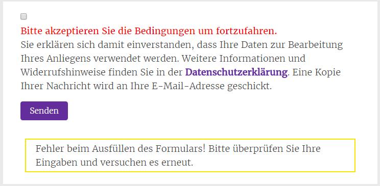 Kontaktformular Datenschutz: Fehlermeldung bei fehlender Zustimmung