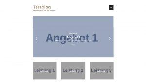 WordPress Arouse Theme, Startseite mit Slider und Boxen