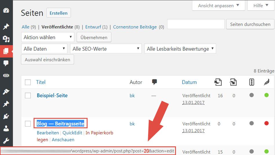 WordPress Seiten ID herausfinden