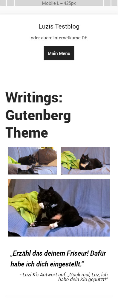 WordPress Gutenberg Theme Writings: mobile