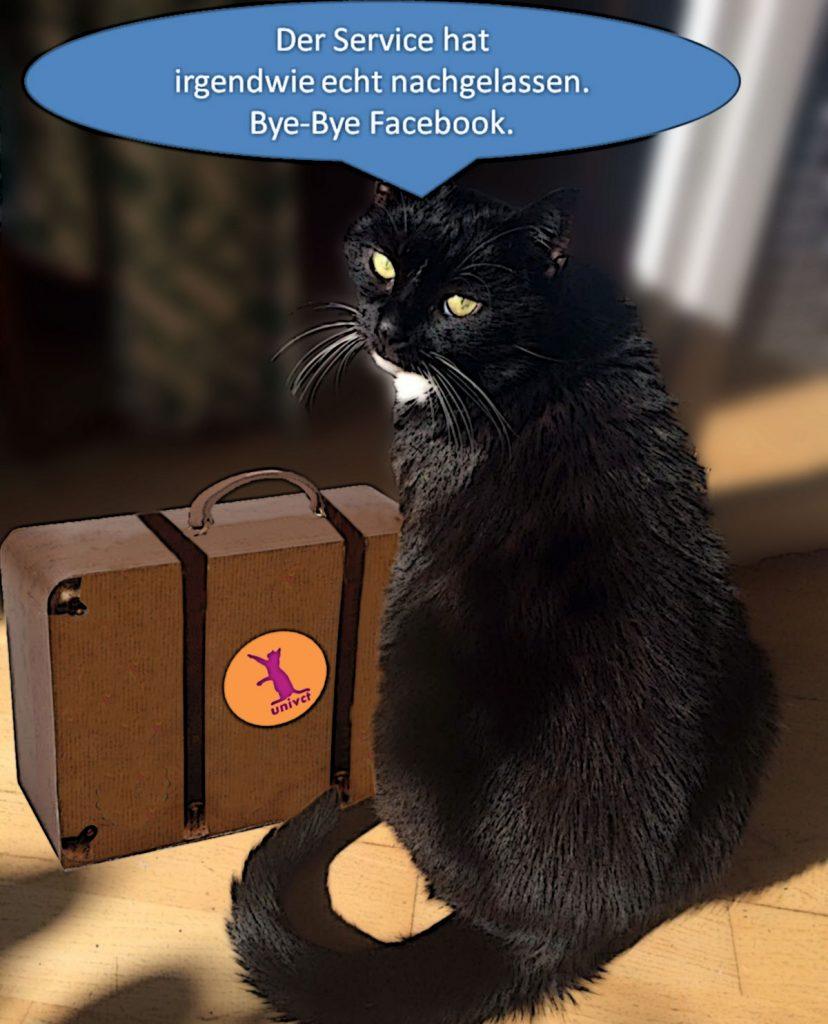"""Comic Bild zu: Bye-Bye Facebook. """"Der Service hat irgendwie echt nachgelassen"""", sagt Katze Luz."""