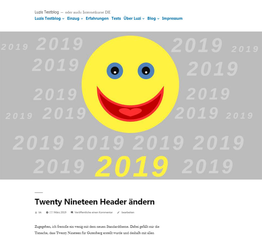 Twenty Nineteen Header bearbeitet, Desktop Ansicht