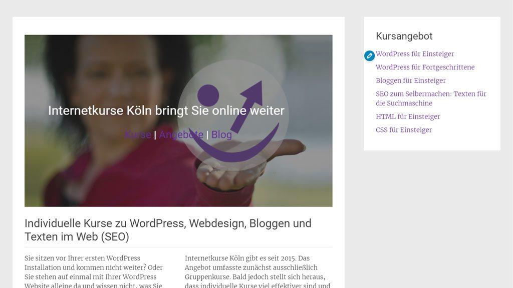 Screenshot Startseite mit WordPress Theme Radiate.