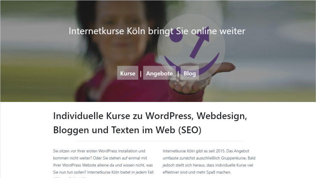 Screenshot Startseite nach Redesign mit Gutenberg Theme Zakra.