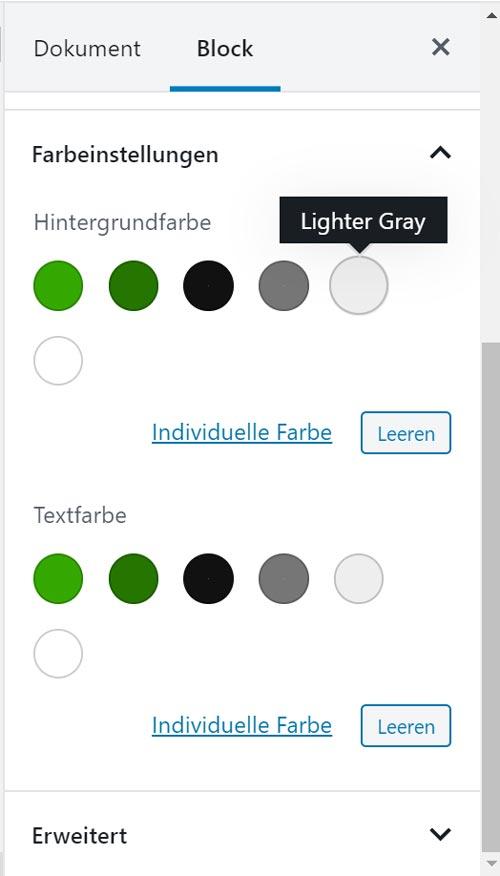 Twenty Nineteen Farbpalette, WordPress Gutenberg Farben bearbeitet