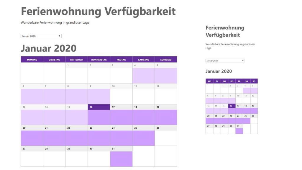 Ferienwohnung Kalender in WordPress einbinden