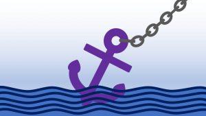 WordPress Anker setzen: Cartoon eines Ankers an Kette auf See.