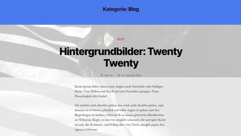 WordPress Hintergrund pro Seite ändern, Theme Twenty Twenty