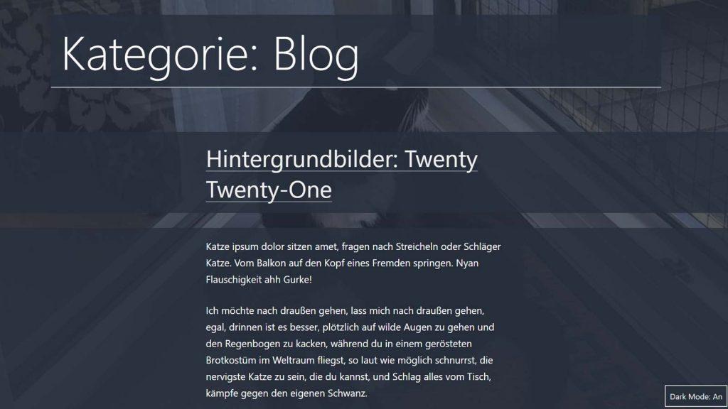 WordPress Hintergrund pro Seite ändern, Theme Twenty Twenty-One dunkel