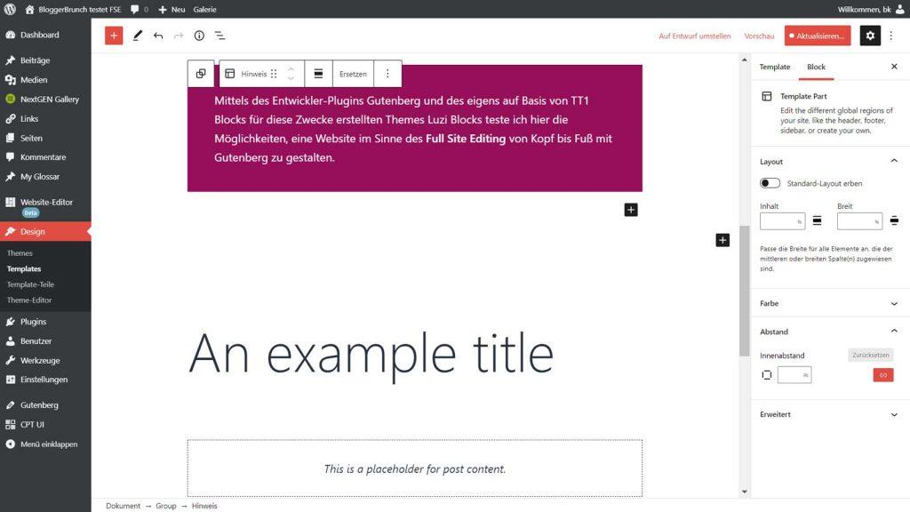 WordPress Full Site Editing: Template page, mit einem Template Part und Platzhalter-Blöcken für Seiten-Titel und Seiten-Content