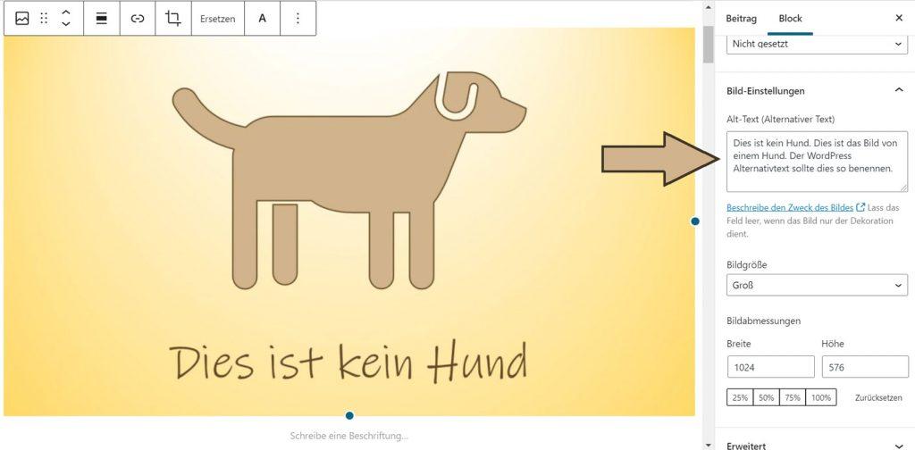 """WordPress Alternativtext über den Bildblock im Beitrag bearbeiten am Beispiel des Bildes """"Dies ist kein Hund"""""""