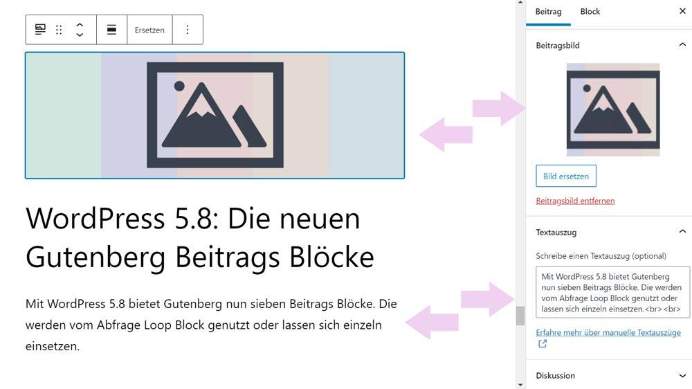 Gutenberg Blöcke Beitragsbild und Beitragsauszug in der Bearbeitung
