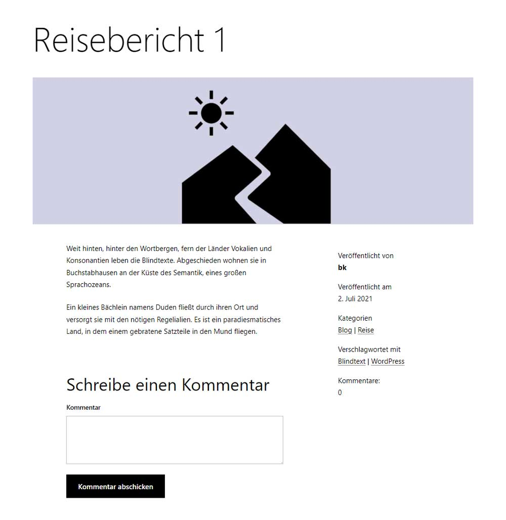 Reisebericht mit eigenem Template für Beiträge: ein Zweispalter. Text links, Meta-Angaben rechts.